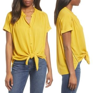 Caslon Relaxed Short Sleeve Button Front Top